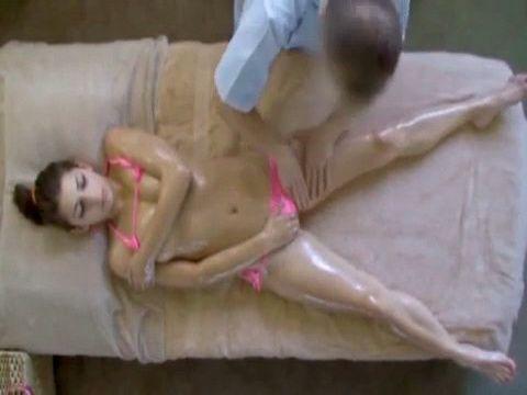Slim Brunette Teen Gets Happy Ending During Oil Massage