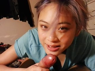 Teen thai sucking old cock