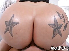 Huge booty babe Ashley Barbie bouncing on massive cock