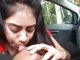 indian cute girl blow job in car