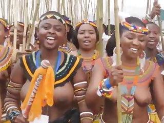 Zulu girl boobs bouncing in slow motion