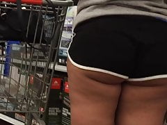 OMG Juicy Ass Cheeks Jiggling Out Her Shorts