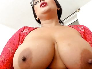 Sexy BBW girl with glasses, huge tits, lingerie fucks pussy