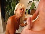 Blond MILF Eats Young Guys Ass in Bathtub
