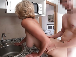 BLONDE MILF WITH BIG NATURAL TITS FUCKED ON THE KITCHEN