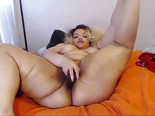 Fat blond mommy masturbates