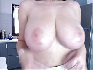 perfect boob brunette in kitchen