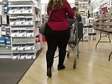 Fat juicy wide ass PAWG in tight pants and wedge heels