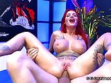 Amazing bukkakes on tattooed busty redhead