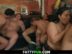 Group bbw orgy in the fat bar