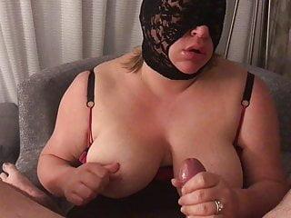 Masked Wife sucking my cock with cum shot