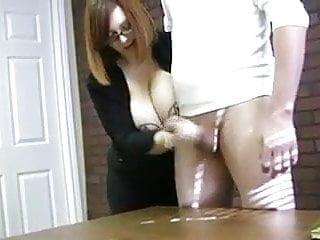 Big Tit Babe Jerks Uncut Cock To Huge Cum Load