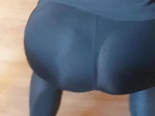 Fit girl visible thong in see through legging