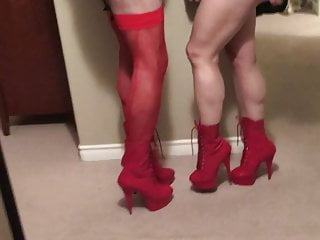 Red heels and leather hot couple
