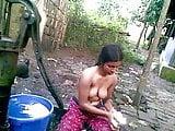 Indian Farmer Girl Bathing Naked