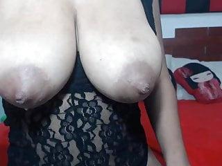 Leaking heavy milk filled puffy nip breasts