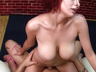 busty redhead girl riding and swallow dick with her pussy
