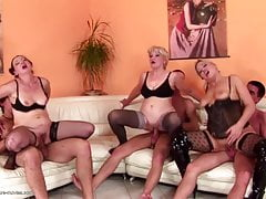 Big taboo group sex with mature moms