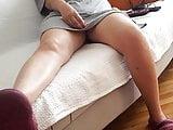 Gfs sexy sitting upskirt, resting legs feets