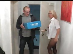 Divorced Mature MILF in Glasses Loves Lucky Delivery Boy